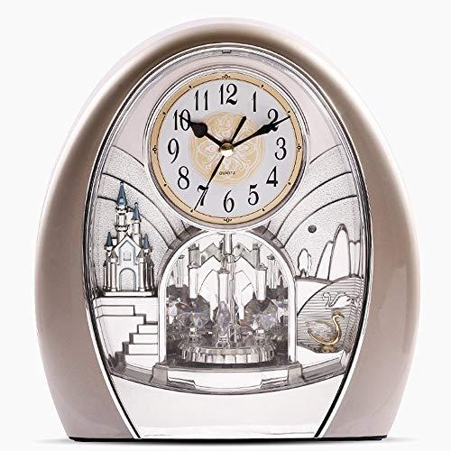 DAMAI STORE Europäische Antike Standuhr Glocke Mute The Music/Kreativ Dekorative Uhren/Wohnzimmer Sitz Deco Pendeluhr 25 * 23 * 10cm (Color : Silver)