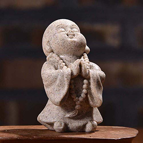 Gaosu Mini Chinese Style Sculpture Miniature Ornament, Home Decor, Buddha Statue, Cute Small Buddha Statue Decoration(B Grey)