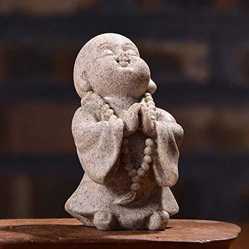 SPDD Cute Little Monk Statue,Sandstone Adorable Chinese Buddha Statuettes Monk Dolls Sculpture Ornament Monk Figurine(B Grey)