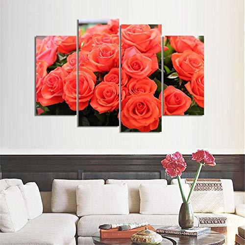 ANTAIBM® 4 Dekorative Malerei Wohnzimmer Fresko Holzrahmen - verschiedene Größen - verschiedene Stile4 Stück romantische Leinwand Malerei Rosenblume Ölgemälde Große Wandkunst Bilder für Wohnzimmer Dru