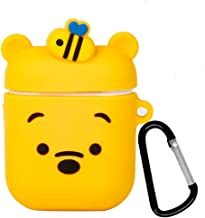 iFiLOVE Compatible with Winnie The Pooh Airpods Case, Cute Cartoon Silicone Headphone Shockproof Protective Case Cover with Keychain for Apple Airpods Case 2 & 1 (Bear)