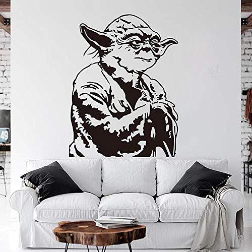 Cartoon Star Wars Yoda Wandaufkleber Jungenzimmer Kinderzimmer Anime Star Wars Yoda Wandtattoo Spielzimmer Schlafzimmer Vinyl Dekor, 56 cm * 43 cm