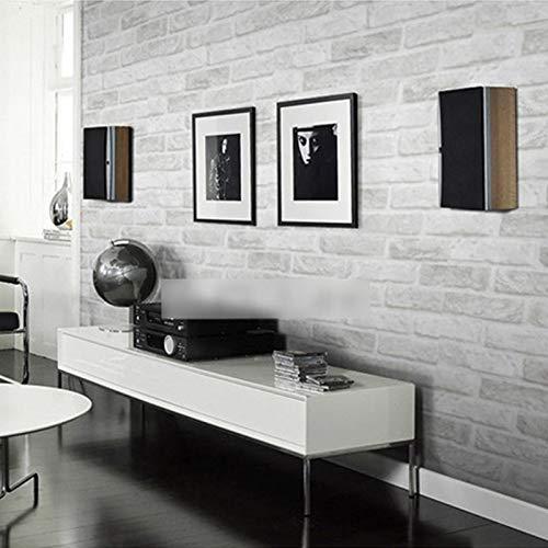 Tapeten Grau Weiß Ziegelstein-Muster-Tapete for Wände Rolle 3D Wohnzimmer Schlafzimmer Stone Brick Wall Paper Home Decor 3D (Color : Grey White 0.53M*10M)