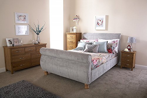 Home Source Upholstered Grey Fabric Modern French Sleigh Bedstead Bed Frame - 5ft King