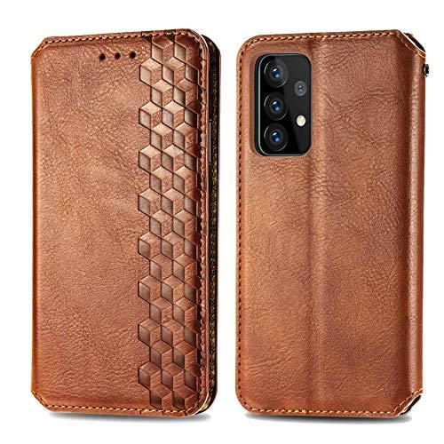 Trugox Funda Cartera para Samsung A72 de Piel con Tapa Tarjetero Soporte Plegable Antigolpes Cover Case Carcasa Cuero para Samsung Galaxy A72 - TRSDA120621 Marrón