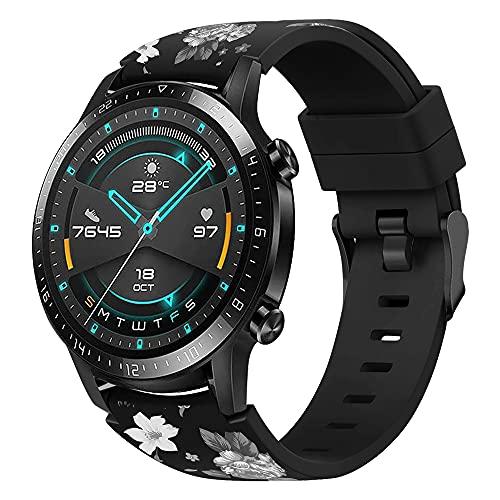 XMUXI Correa de reloj de 22 mm compatible con Galaxy Watch 3 de 45 mm, Galaxy Watch de 46 mm, Gear S3 Frontier, con estampado de flores, silicona de repuesto para Huawei GT2 (#9)