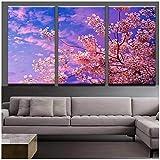 TeriliziLienzo Decoración para El Hogar Modular 3 Set Pink Sakura Tree Painting Wall Art Pictures para Sala De Estar HD Paisaje Imprimir Posters-50X70Cmx3Pcs Sin Marco