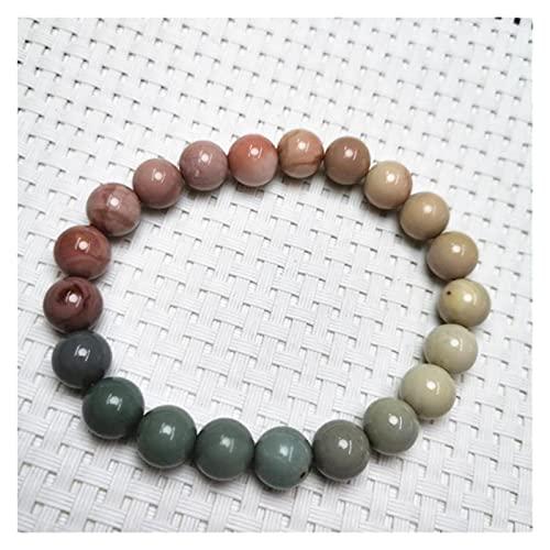 YYYSHOPP Joyería Pulseras 1 UNID Natural Hermosa Redondo Beads Flow Multicolor Agate Stretch Brazalet Brazalet Esposas