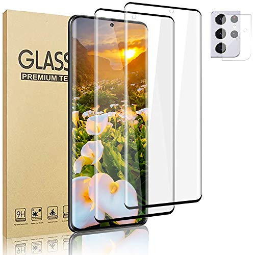 """[2+1 Pack] Galaxy S21 Ultra Screen Protector + Camera Lens Film [Full Covered] [9H Hardness] [Easy To Install] HD Tempered Glass Protector, For Samsung Galaxy S21 Ultra (6.8"""")"""