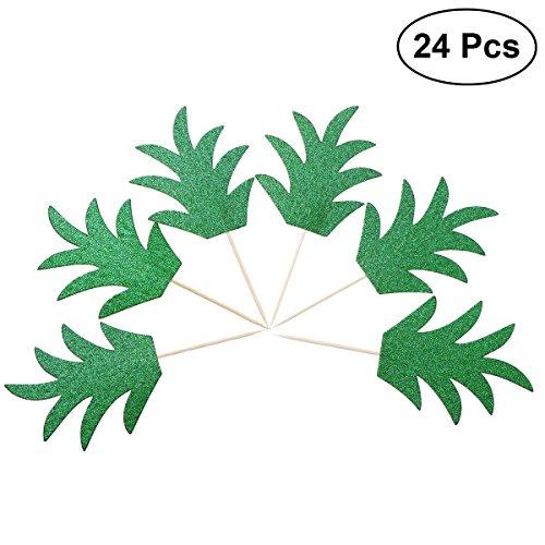 BESTONZON 24 stücke Kuchen Topper Ananas Blätter Zahnstocher Flagge für Kuchen Käsekuchen Cookies Cocktail Dekoration (grün)