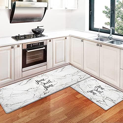 Kitchen Mat, [2PCS] Anti Fatigue Mat Luminous Floor Comfort Mat, Waterproof Non-Slip Kitchen Rugs, Thick Perfect Ergonomic Foam Standing mat for Kitchen, Home, Office, Laundry (17' 30'+17' 47')
