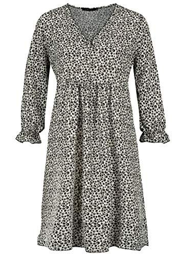Sublevel Damen Kleid mit Punkten Muster Print Langarm Black S/M