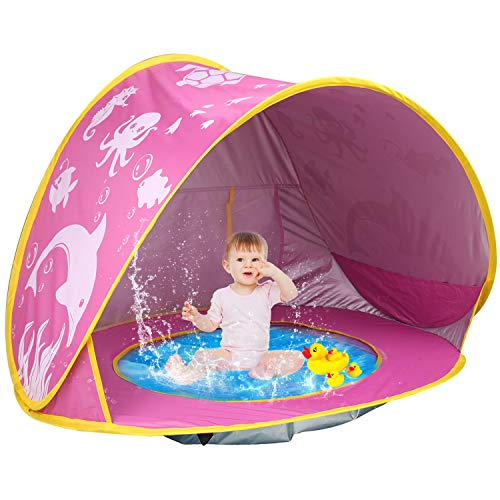 TURNMEON Baby Beach Tent with Pool,2021 Upgrade Easy Fold Up & Pop Up Unique Ocean World Baby Tent,50+ UPF UV Protection Outdoor Tent for Aged 3-48 Months Baby Kids Parks Beach Shade (Pink)
