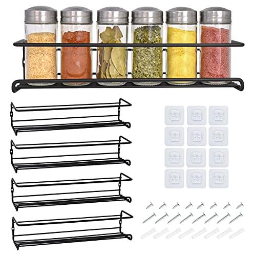 Étagère à épices et à herbes 4 étages - Rangement epices cuisine - Etagere a epices noire de qualité - Porte epices cuisine facile à installer