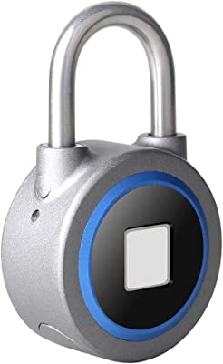 Bluetooth Fingerprint Padlock, Remote Connection Metal Waterproof, Suitable for House Door, Suitcase, Backpack, Gym, Bike, Office, with APP Control for Android/iOS, Support USB Charging