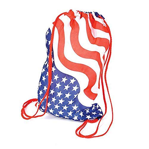Kicko 13.5 Inch USA Flag Drawstring Bags - 12 Pack - Patriotic Stars and Stripes Backpack - for the 4th of July, Memorial Day, Labor Day, School, Hiking, America, Olympics Events, Team USA