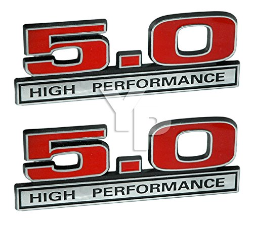 460 7.5 Liter High Performance Engine Emblem Badges in Red and Chrome 4 Long Pair