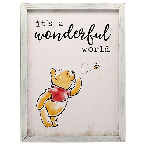 Open Road Brands Winnie The Pooh It's a Wonderful World Framed Wood Wall Decor