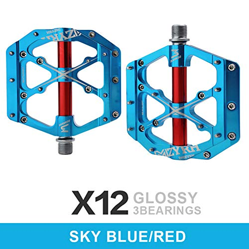 DSstyles Mountain Bike Pedal Bicycle Pedal Aluminum Alloy Bearing Road Bike Folding Bike Universal Sky Blue Red 14mm