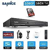 ANNKE 3MP DVR de 16 Canales 5-en-1 TVI/CVI/IP/CVBS/AHD Sistema de vigilancia Grabador de Video Digital con 4TB Disco Duro de vigilancia H.265+ Detección de Movimiento
