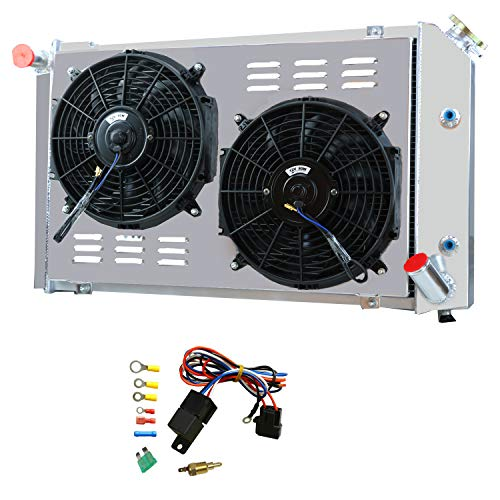 OzCoolingParts 3 Row Core Aluminum Radiator + 2 x 12' Fan w/Shroud + Thermostat/Relay Wire Kit for 1977-1982 78 79 80 81...