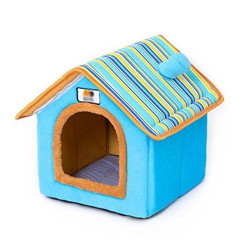 Pet Online Maison de chenil de lavage à l'eau amovible chambre chambre chien chat de fournitures pour animaux nest villa, M : 43 * 37 * 43cm, bleu