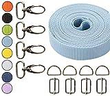 Roban Fashion Gurtband Polypropylen 5m mit Karabinerhaken x4 und x4 Regulatoren x4 Metall D-Ring 20mm,Hellblau