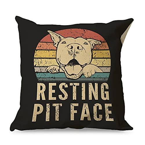 Haythan Funda de cojín decorativa para el hogar Resting RIT Face, de lino, 45 x 45 cm, color blanco, 45 x 45 cm