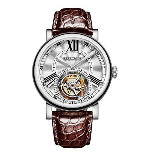 REEF TIGER Herren Uhr analog Handaufzugwerk mit Leder-Alligator Armband RGA1999-YWS