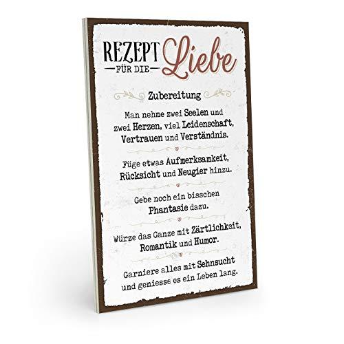 ARTFAVES Holzschild mit Spruch - Rezept für die Liebe - Vintage Shabby Deko-Wandbild/Türschild