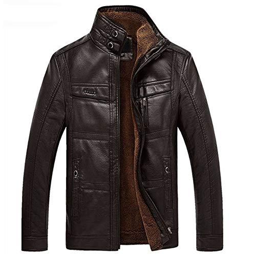 Herren Schaffell Motorrad Leather Jacken Coat Mantel Herbst Winter Warm Kleidung,Darkcoffee,XXXL