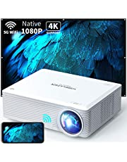 """WISELAZER Native1080P ultra HD 7500L home movie Projector , Support 4K ,5G wireless outdoor portable 300"""" big screen projector,Compatible With HDMI/USB /Tv Boxphone/Pc/Laptop"""
