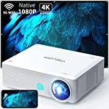 WISELAZER Native1080P ultra HD 7500L home movie Projector , Support 4K ,5G wireless outdoor portable projector,Compatible With Chromecast/Tv Boxphone/Pc/Laptop/Ps4