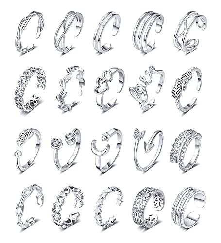 WFYOU 20PCS Adjustable Toe Rings for Women Flower Arrow Moon Star Chain Ring Octopus Band Open Tail Ring Women Beach Foot Jewelry Set