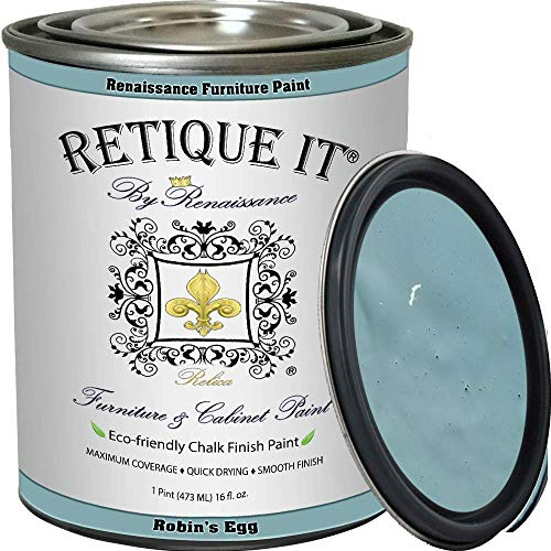 Renaissance Chalk Finish Paint - Robin's Egg 1 Pint (16oz) - Chalk Furniture & Cabinet Paint - Non Toxic, Eco-Friendly, Superior Coverage
