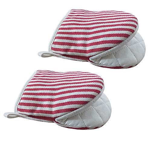 careme 耐熱鍋つかみ 耐熱ミトン オーブンミトン キッチン手袋 2枚セット 耐熱温度180℃ なべつかみ 滑り止め 鍋敷き 電子レンジ手袋 色落ちない 鍋つかみ おしゃれ 左右兼用 (レッド)
