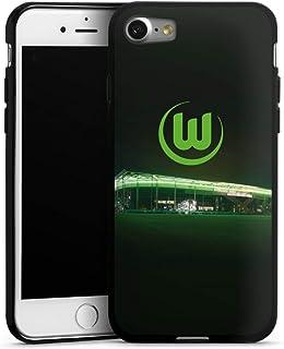 DeinDesign Silikon Hülle kompatibel mit Apple iPhone 7 Case schwarz Handyhülle Offizielles Lizenzprodukt VFL Wolfsburg Stadion