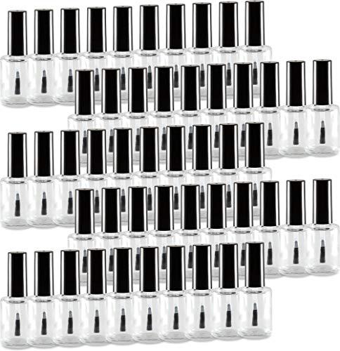 50 Stück Nagellackflasche leer 15ml klar (NF-18) mit Deckel schwarz und Pinsel
