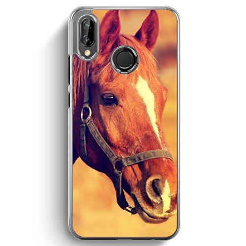 Pferd Foto - Hülle für Huawei P20 Lite Hardcase - Motiv Design H& Tiere Süß Cool Lustig Witzig - transparente durchsichtige Handyhülle Schutzhülle