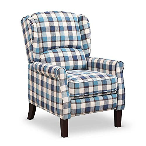 Recling Chairs Wing Back Tartan Recliner Armchair Soft Padded Adjustable Backrest and Footrest Retro Check Leisure Chair For Home Lounge Living Room (Blue)