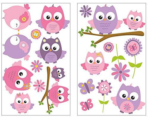 Samunshi® 19-teiliges Pinke Baby Eulen auf Ast Wandtattoo Set Kinderzimmer Babyzimmer in 5 Größen (2x16x26cm mehrfarbig)