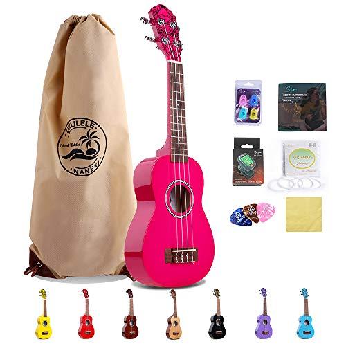 Soprano Ukulele 21 inch Mahogany Uke,Mini Kids Guitar Hawaiian ukelele Instrument Kit ukalalee for Beginner Adults Kids Starter(Rose red)