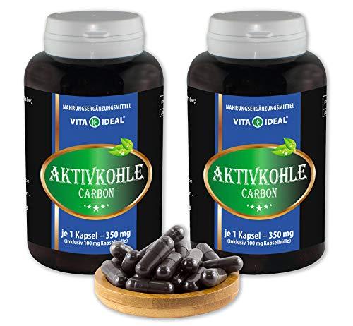 VITAIDEAL ® Aktivkohle (Activated Charcoal) 2x360 Kapseln je 350mg, rein natürlich, ohne Zusatzstoffe von NEZ-Diskounter