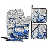 Manoplas de cocina resistentes al calor con estampado de pulpo azul en el periódico ruso, con guantes antideslizantes a prueba de horno y soportes para ollas para el hogar, cocina, horno y microondas