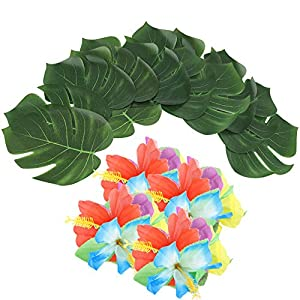 Nikou Party Decorations 54PCS Tropical Green Leaves Silk Flower Decor for Summer