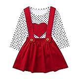 Kleinkind Kinder Kleidung Set Baby Mädchen Valentine Dot Herzförmige Tops Hosenträger Röcke Outfits Set, Rot, 4-5 Jahre