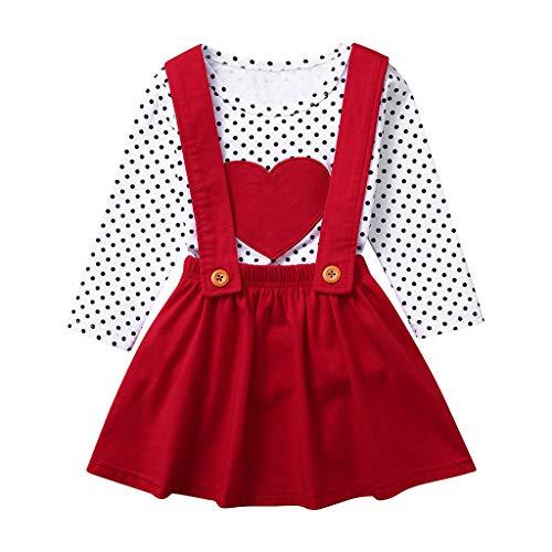 Xmiral Småbarn flicka långärmad kläder prick tryckta toppar hängslen kjolar