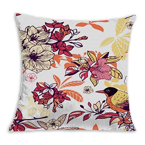 2183 Funda de cojín con estampado floral sin costuras, antiarrugas, cuadrada, para ropa de cama, sofá, 45 x 45 cm
