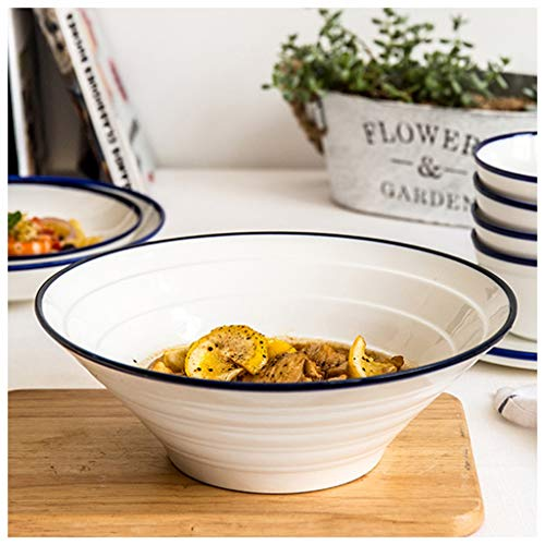 CJW Bol en céramique blanc et bleu sur le côté - Grand bol à soupe pour nouilles Plats Assiette à soupe Assiette à soupe Salade de fruits Bol à dessert 6-10 pouces (Taille : 25.3cm)