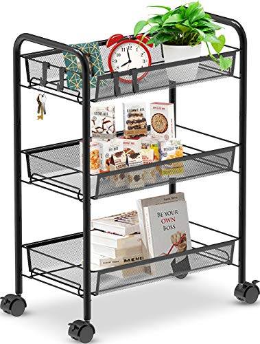 Auledio 3Tier Rolling Storage Utility Cart Multifunction Metal Trolley Organizer with Mesh Wire Basket on 2 Lockable Wheels for Kitchen Bathroom Office Black